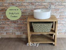Solid Beam Basin Vanity Unit Washstand Rustic reclaimed Light Oak SINK