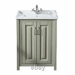 Stone Grey 600 mm Traditional Bathroom Storage Vanity Unit Basin Sink Chiltern