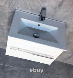 Sulu Slimline Square Wall Hung Vanity Unit With 600mm Ceramic Basin Sink White