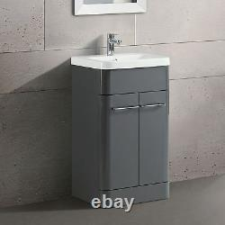 TOREX FREESTANDING BATHROOM VANITY UNIT CERAMIC BASIN CABINET GLOSS GREY 500mm