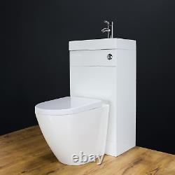 Toilet WC Back to Wall Bathroom Vanity Unit Cabinet Basin Sink 41V Housing White