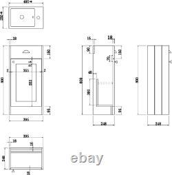 Traditional 400mm Grey Bathroom Vanity Unit Basin Sink Storage Cabinet Furniture