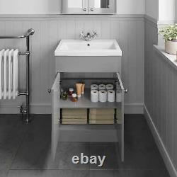 Traditional 600mm Bathroom Vanity Unit Basin Sink Storage Cabinet Furniture Grey