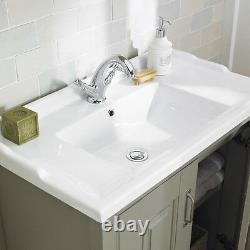 Traditional Bathroom Cabinet Furniture Vanity Unit Storage Sink Basin Stone Grey