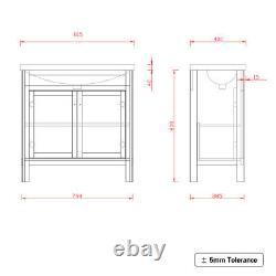 Traditional Bathroom Vanity Unit Furniture Basin Sink Storage Cabinet Grey 800mm