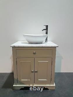 Traditional Granite Top Painted Vanity Unit 800mm Wide bathroom Wash Stand