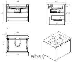 Urban Brown Bathroom Storage Wall Hung Vanity Unit White Resin Basin 90cm