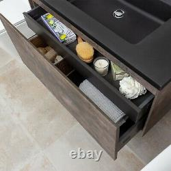 Urban Brown Slate Bathroom Wall Hung Vanity Unit Black Resin Basin 90cm