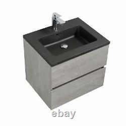 Urban Grey Bathroom Storage Wall Hung Vanity Unit Black Resin Basin 60cm