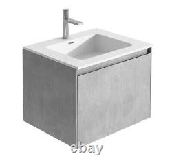 Urban Grey Bathroom Storage Wall Hung Vanity Unit White Resin Basin 60cm