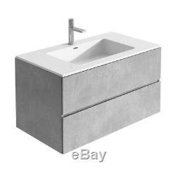 Urban Grey Bathroom Storage Wall Hung Vanity Unit White Resin Basin 90cm