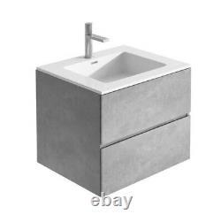Urban Grey Bathroom Storage Wall Hung Vanity Unit White Resin Sink 60cm