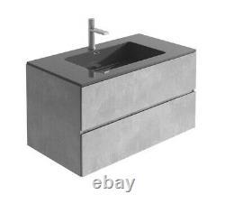 Urban Grey Concrete Bathroom Wall Hung Vanity Unit Black Resin Basin 90cm