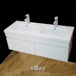 Vanity Unit Cabinet Basin Sink Bathroom Corner Wall Hung Twin Double Bowl 1200