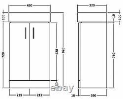 VeeBath Linx Basin Vanity Cabinet White Cloakroom Bathroom Sink Unit 450mm