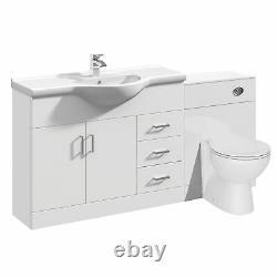 VeeBath Linx Bathroom Vanity Unit WC Toilet Pan Cistern Furniture Set 1550mm