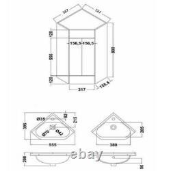 VeeBath Linx Corner Basin Vanity Cabinet Unit White Sink Furniture 500 x 470mm