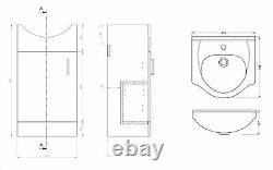 VeeBath Linx Vanity Basin Cabinet Storage Unit Gloss White Ceramic Sink 450mm