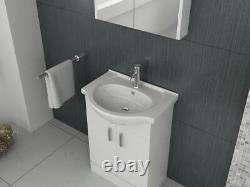 VeeBath Linx Vanity Basin Cabinet Storage Unit Gloss White Ceramic Sink 550mm