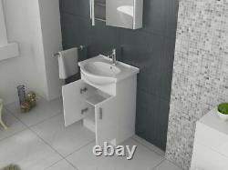 VeeBath Linx Vanity Basin Cabinet Storage Unit Gloss White Ceramic Sink 650mm