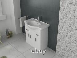 VeeBath Linx Vanity Basin Cabinet Storage Unit Gloss White Ceramic Sink 750mm