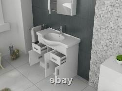 VeeBath Linx Vanity Basin Cabinet Storage Unit Gloss White Ceramic Sink 850mm