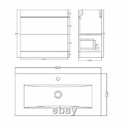 VeeBath Sobek Vanity Basin Cabinet Unit White Storage Sink Furniture 800mm