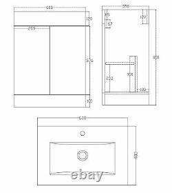 VeeBath Sphinx 600mm Gloss White Vanity Sink Unit & Waterfall Basin Mixer Tap