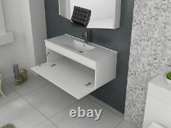 VeeBath Sphinx Vanity Basin Cabinet Wall Hung White Furniture Sink Unit 1000mm