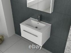 VeeBath Sphinx Vanity Basin Cabinet Wall Hung White Furniture Sink Unit 600mm
