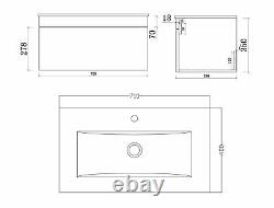 VeeBath Sphinx Vanity Basin Cabinet Wall Hung White Furniture Sink Unit 700mm
