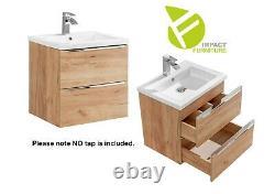 Wall Hung Bathroom 60cm Vanity Unit Basin Sink Tall Laundry Cabinet Oak Capri