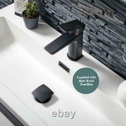 Wall Hung Bathroom Vanity Unit Matt Black Frame 500mm 600, 800 Mono Cabinet