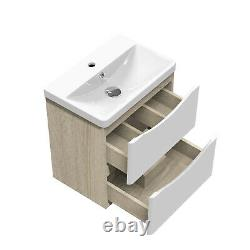 Wall Hung Bathroom Vanity Unit Sink Basin 500 600 800 with 2 Drawers White+Oak