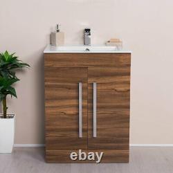 Walnut Floor Mounted Vanity Unit & Basin with Soft Closing Doors 600mm