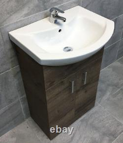 Walnut Oak Finish Vanity Basin Sink Unit 550mm Bathroom Storage Driftwood