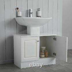 White 2 Door Under Sink Bathroom Underbasin Storage Cabinet Vanity Unit