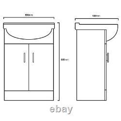 White 550mm Bathroom Cloakroom Vanity Unit Storage Cabinet & Ceramic Basin Sink