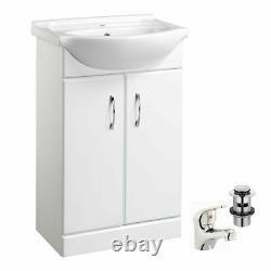 White 550mm Two Door Bathroom Cabinet Basin Sink Vanity Unit Chrome Tap & Waste