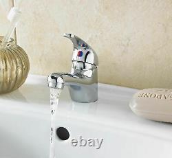 White 550mm Two Door Bathroom Cabinet Basin Sink Vanity Unit WITH Tap & Waste