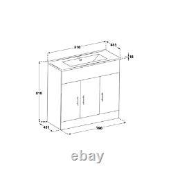White Bathroom Furniture Vanity Unit Ceramic Basin Sink Cloakroom Cabinet 810mm