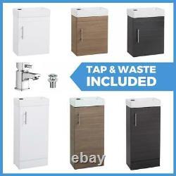 White Bathroom Vanity Unit Ceramic Basin Sink Oak Ebony Storage Cabinet En Suite