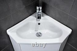 White Compact Corner Vanity Unit Bathroom Furniture Sink Cabinet Basin (C400)