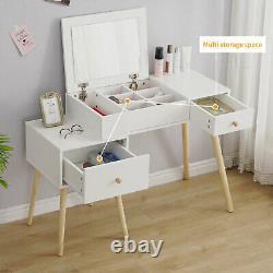 White Dressing Table with Drawers Vanity Makeup Desk Flip up Mirror Bedroom Wood