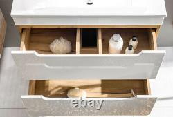 White Gloss Oak Bathroom 600 Compact Vanity Unit Sink Wall Cabinet Drawers Arub