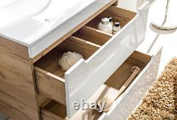 White Gloss Oak Bathroom 600 Compact Vanity Unit Wall Cabinet Drawers Arub