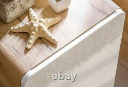 White Gloss Oak Bathroom 600 Vanity Unit Sink Wall Hung Cabinet Counter Top Arub