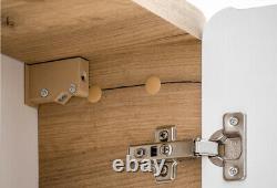 White Gloss & Oak Bathroom Set 400mm Vanity Unit Sink Wall Storage Cabinet Arub