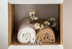 White Gloss Oak Bathroom Set Compact Vanity Sink Unit Wall Cabinet Tallboy Arub