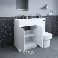 White LH Combi Bathroom Furniture Vanity Unit Suite + Basin Sink + Boston Toilet